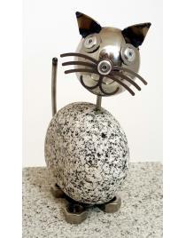 Wackelkopfkatze klein ca. 14 cm hoch aus Granit und Edelstahl