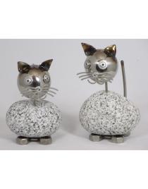 Wackelkopfkatzen klein 2-er Set je ca. 14-17 cm hoch aus Granit und Edelstahl