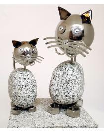 Wackelkopfkatzen 2-er Set Katze groß und klein ca. 20 & 14cm hoch aus Granit und Edelstahl
