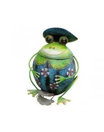 """Tretabfalleimer """"Frosch""""  aus Metall grün-rot-silber  ca. 46cm hoch Handarbeit"""