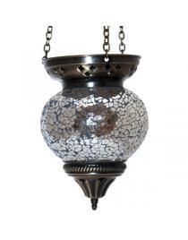 Mosaikhängelampe silber Gesamtlänge ca. 52 cm