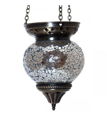 Mosaikhängelampe silberfarben Gesamtlänge ca. 52 cm
