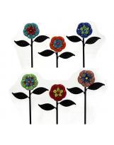 Pflanzstecker aus Keramikblumen handbemalt ca. 23 cm lang