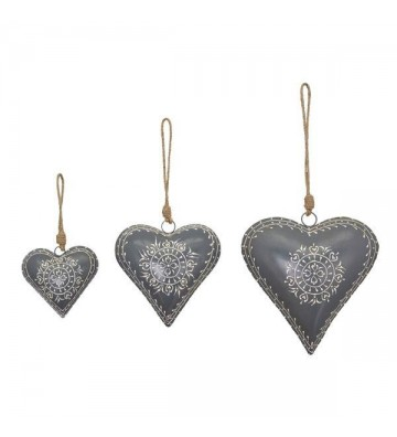 Herzanhänger Dost, grau, aus Metall
