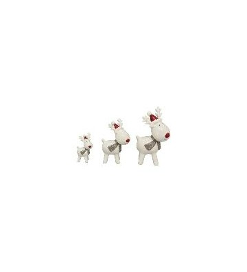 SET: 3 Dekofiguren Rentier aus Keramik weiß