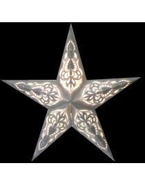 Leuchtstern Sumita grau mit Silberglitter 5 Zacken und Magnetverschluß