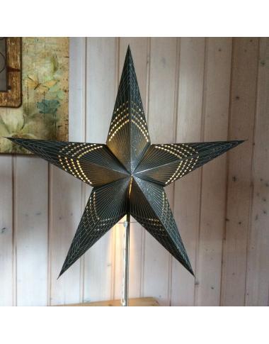 Leuchtstern Prisma schwarz Silberglitter 5 Zacken und Magnetverschluß