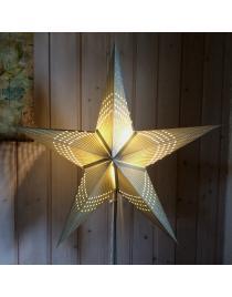 Leuchtstern Prisma grau/creme Silberglitter 5 Zacken und Magnetverschluß