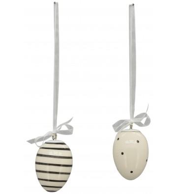 2-er Set Eihänger XOXO aus Keramik weiß, schwarz