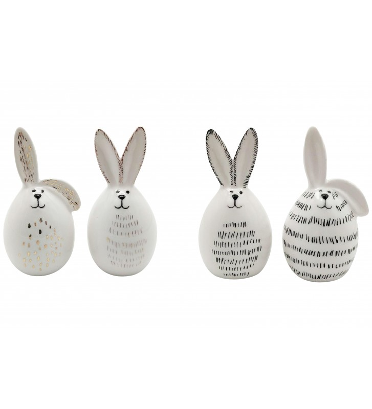 4-er SET Hasen XOXO aus Keramik ca. 8,5 cm groß