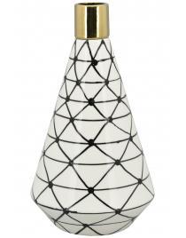 Vase XOXO Stoneware ca. 26 cm hoch weiß/schwarz/gold