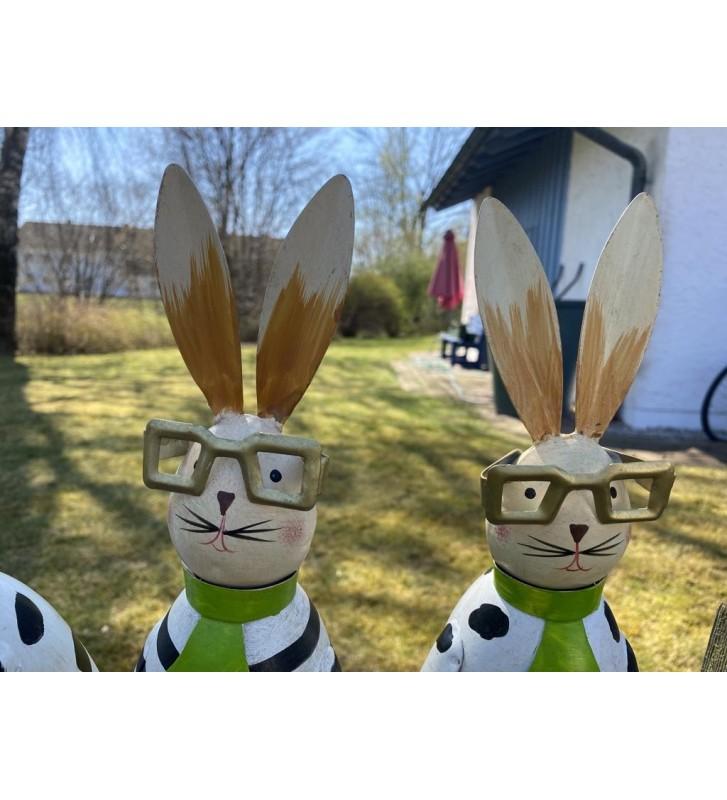 """Zaunhocker """"Hase"""" mit Brille aus Metall zur Wahl"""