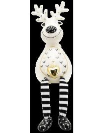 XOXO Rentier Keramik schwarz/weiß ca. 13,7 cm