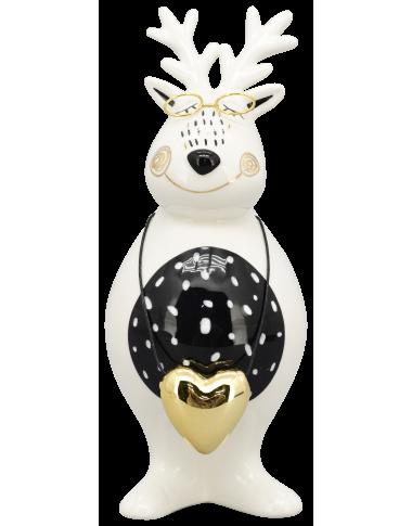 XOXO Rentier Keramik schwarz/weiß/gold ca. 22 cm