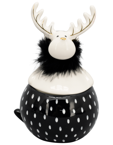 XOXO Weihnachtsdose aus Keramik schwarz/weiß/gold