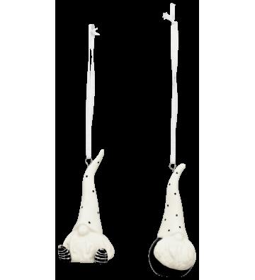 2-er SET: Baumhänger aus Keramik weiß/schwarz ca. 10 cm