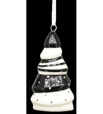 Baumanhänger XOXO Keramik weiß/schwarz ca. 8 cm
