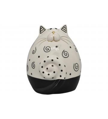 Katze XOXO aus Keramik weiß/schwarz/gold ca. 13 cm
