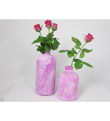 SET: 2 Vasen bauchig, pink 25 cm und 17 cm