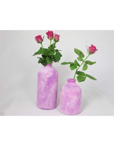 SET: 2 Glasvasen bauchig, pink 25cm und 17cm