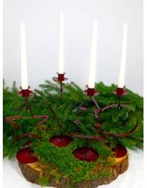 Kerzenhalter rot mit 4 verschiedenen Motiven zur Wahl