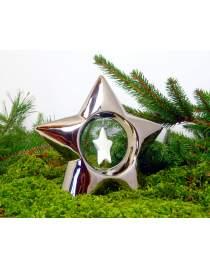 Stern aus Keramik chromglänzend ca. 16cm hoch