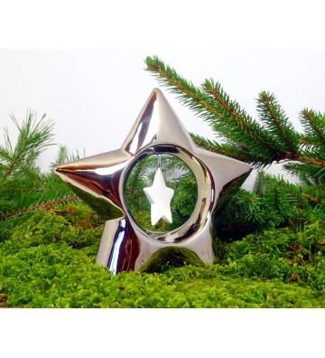 Stern aus Keramik chromglänzend