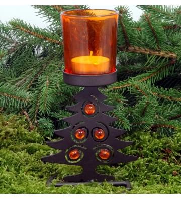 Windlicht orange mit Tannenbaum