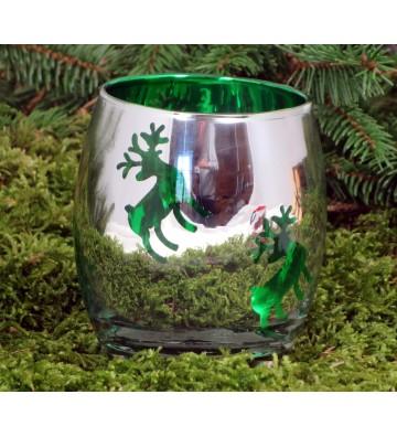 Weihnachtlicher Teelichthalter zur Wahl rot oder grün