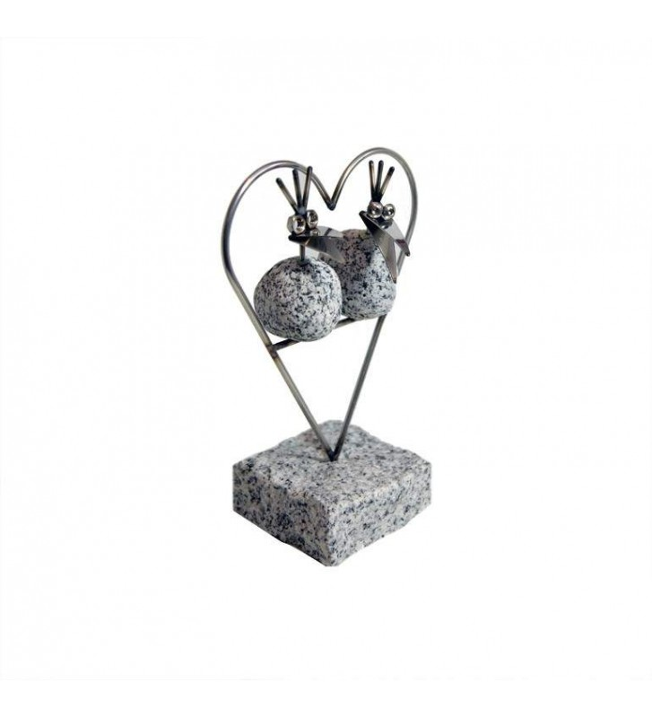 Steinvogel Pärchen im Herz ca.22cm x 17cm aus Granit und Edelstahl