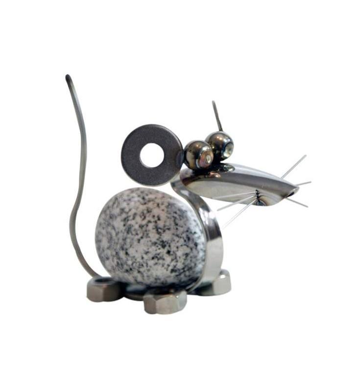 Steintier Maus ca. 11cm hoch aus Granit und Edelstahl