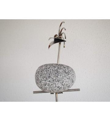 Gartenstecker Steinvögel zur Wahl aus Edelstahl und Granit  am Stab ca. 110cm hoch 1 - 6 Vögel nebeneinander