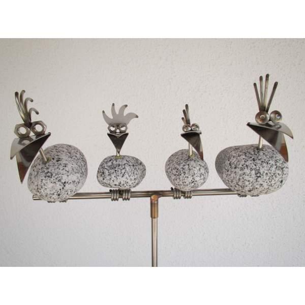 Gartenstecker steinv gel zur wahl aus edelstahl und granit for Gartendeko aus stein und metall