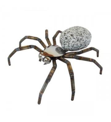 Steintier Spinne aus Granit und Edelstahl zur Wahl: 2 verschiedenen Größen