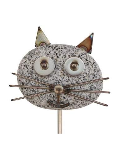 Gartenstecker Katzenkopf ca. 120cm hoch aus Granit und Edelstahl