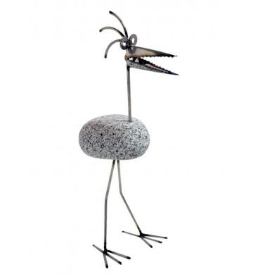 Steinvogel SV 101 ca. 45cm hoch aus Granit und Edelstahl