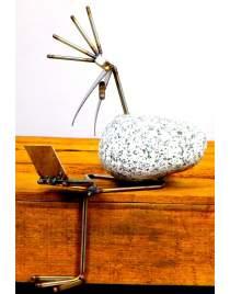 Kantenhocker SV mini Laptop mit Zigarre ca. 22cm hoch aus Granit und Edelstahl