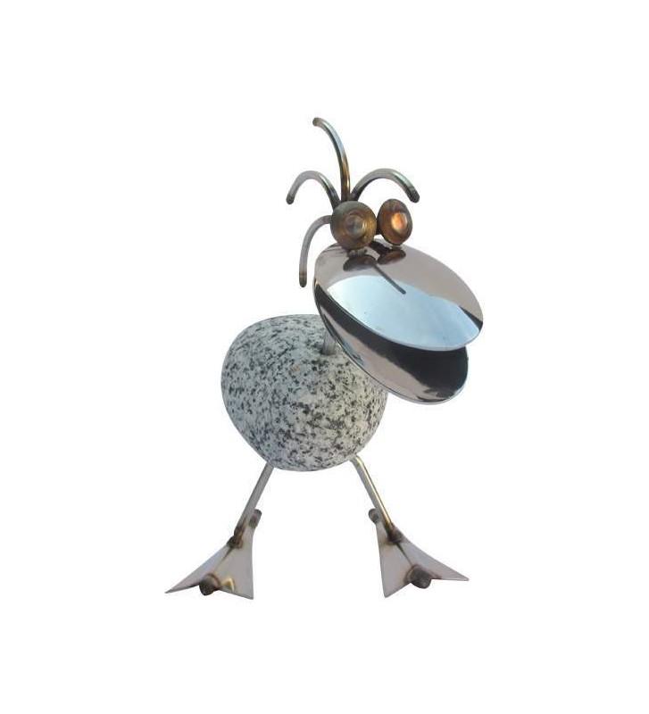 Steintier Ente SV mini ca. 12cm hoch aus Granit und Edelstahl