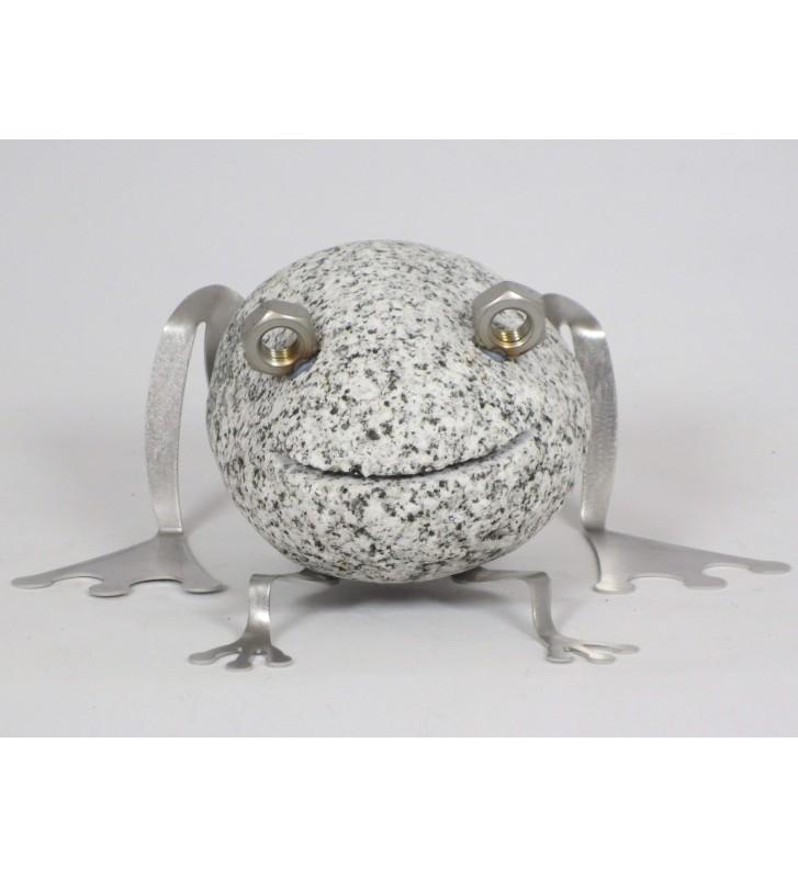 Steintier Frosch ca.8 cm hoch aus Granit und Edelstahl